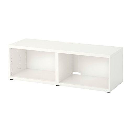IKEA - BESTÅ, TV-Bank, , Dank mehrerer Öffnungen auf der Rückseite der TV-Bank lassen sich Kabel von Fernseh- und anderen Geräten verdeckt, aber griffbereit ordnen.Die TV-Bank kann auf dem Fußboden stehen oder an die Wand montiert werden, damit mehr Bodenfläche frei bleibt.Inneneinrichtung aus der Serie BESTÅ ist eine gute Ergänzung zur optimalen Nutzung aller Fächer.Steht dank verstellbarer Füße auch auf unebenen Böden stabil.