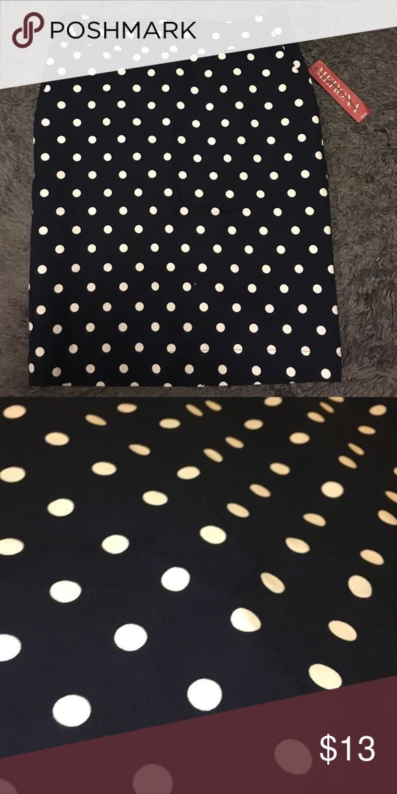 Navy blue and white polka dot pencil skirt New with tags never worn. It's navy blue but hard to tell in the photos. Pencil skirt Skirts Pencil