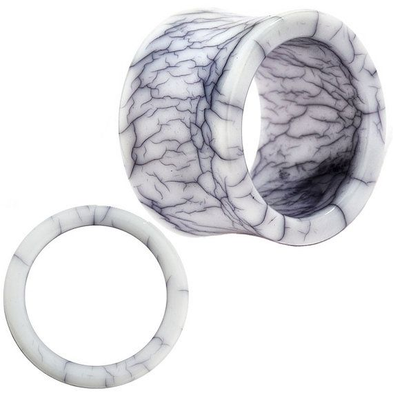 Marble Hollow Design Resin Ear Tunnel Plugs by PiercingDeals, $6.99