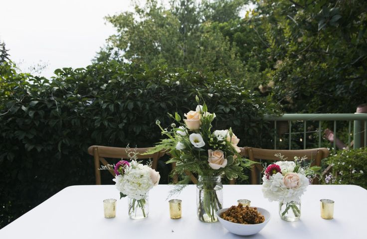 Intimate Backyard wedding table setting