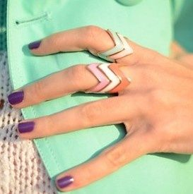 Anyone who knows the original source for these or where can I find them..?Stackable Rings, Fashion, Mint Green, Nails Colors, Stacked Rings, Chevron Rings, Purple Nails, Nails Polish, Accessories