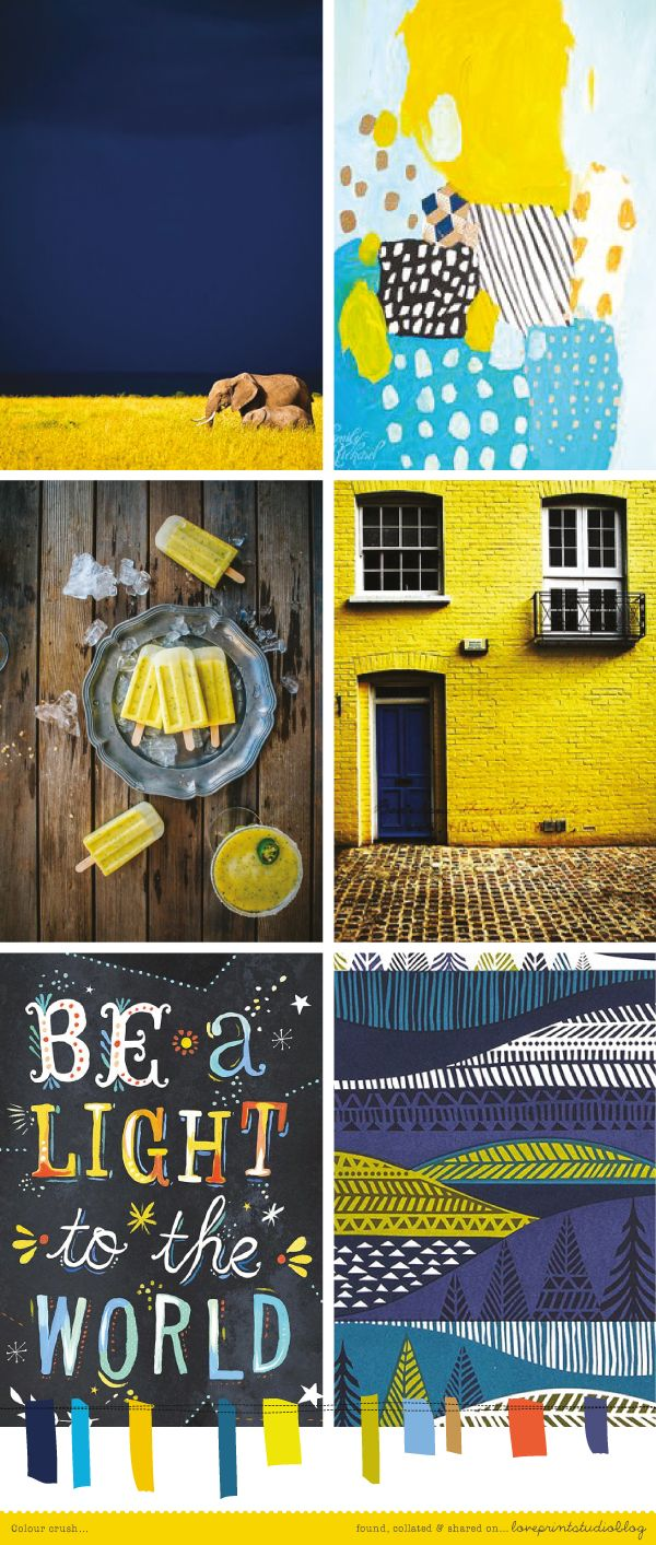 love print studio blog: Colour crush... a bold, striking combination of rich blues and yellow tones in the post today..