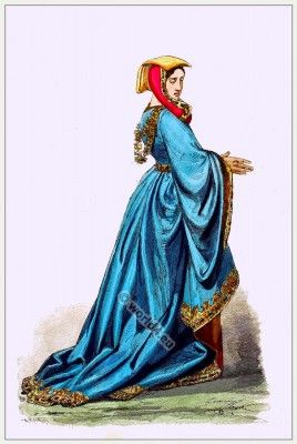 Medieval fashion dresses and style. Middle ages, Burgundian dresses and costume. Nobility court gown.