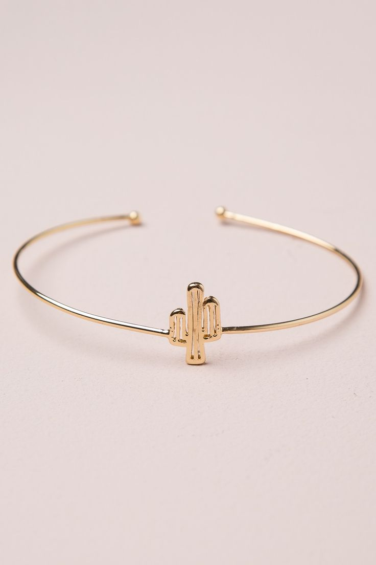 Brandy ♥ Melville | Gold Cactus Bangle - Accessories