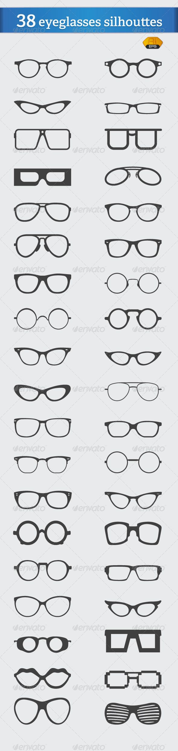 38 Vector Eyeglasses Silhouettes   #GraphicRiver         38 eyeglasses silhouettes  	 available in ai and eps saved at cs and cs5  	 Resizable, east to edit, use & change colors  	 If you have any questions, feel free to contact me at: ramzihachicho@gmail