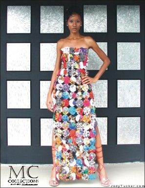 Original from MC Collections. Fits size 4-6-8  This YoYo gown was made from individually hand crafted silk fabric pieces. Includes a Navy Tube dress underneath made of lycra knit. Separating Side Zipper is navy also, but other color tubes (short or long) can be worn under the dress to completely change the look. side split      Available for special order. Please convo for details    Materials:  100% Silk Lycra (tube dress only)    Available sizes: XS, S, M, L (size M, L must be special…