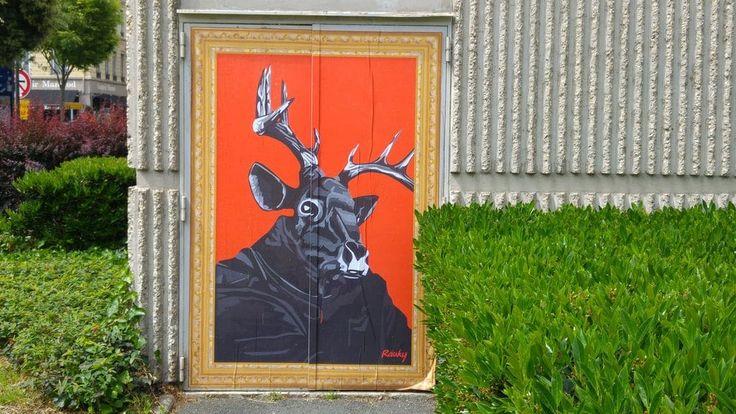 happycurio cerf rauky street art part dieu