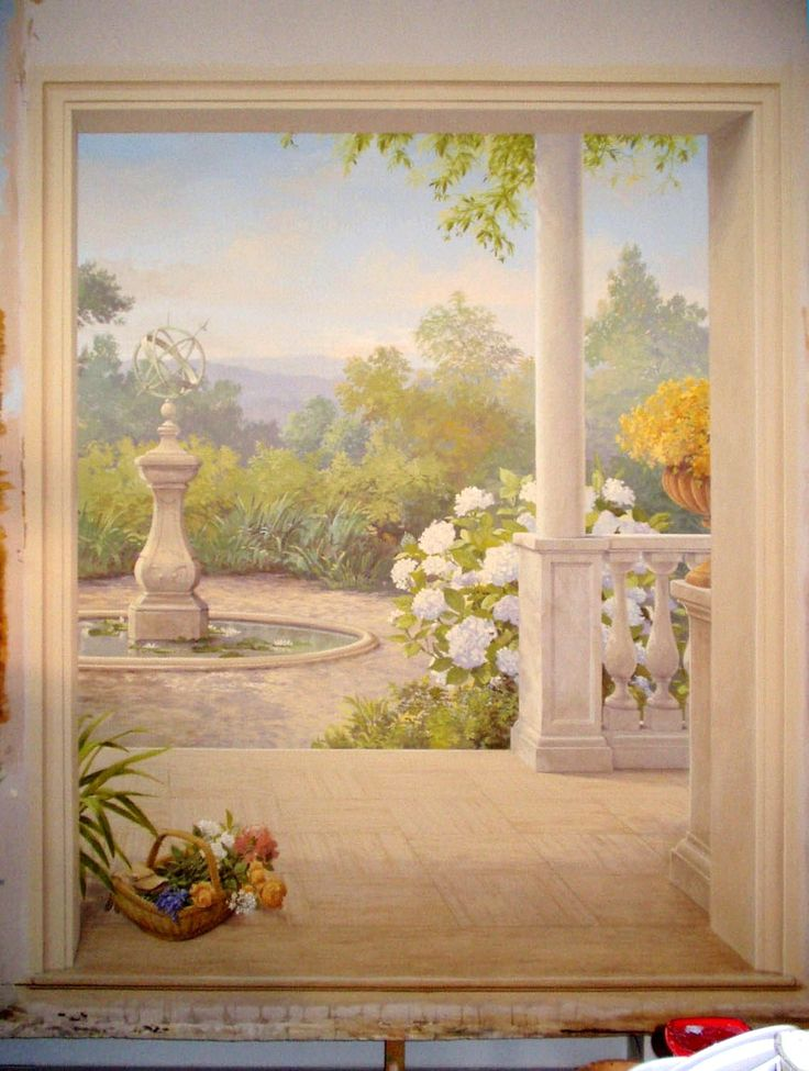 the porch and the romantic garden painted on canvas in our studio. www.malleorossi.it