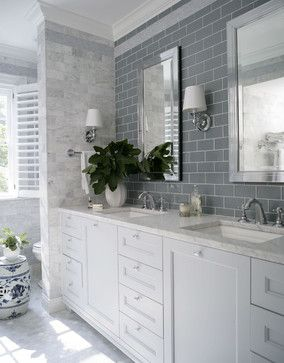 Georgian Dream traditional bathroom with Ice Glass subway tile on wall