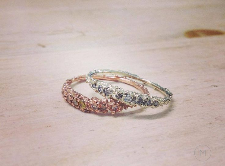 Mini Anemone Rings - mixed diamonds on gold - alternative engagement and wedding rings by Michelle Oh