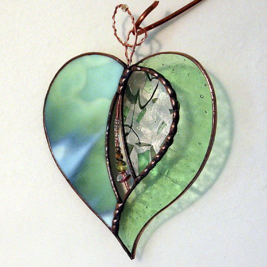 Stained Glass Heart Pendant Jewelry