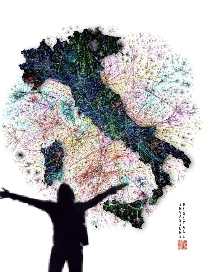 E non poteva mancare un'opera completamente dedicata alle #invasionidigitali Davvero fantastico questo quadro di Fabrice de Nola, Invasioni digitali, 2013. Acrilico e olio su tela, cm 130x100. Unico esemplare! #chespettacolo