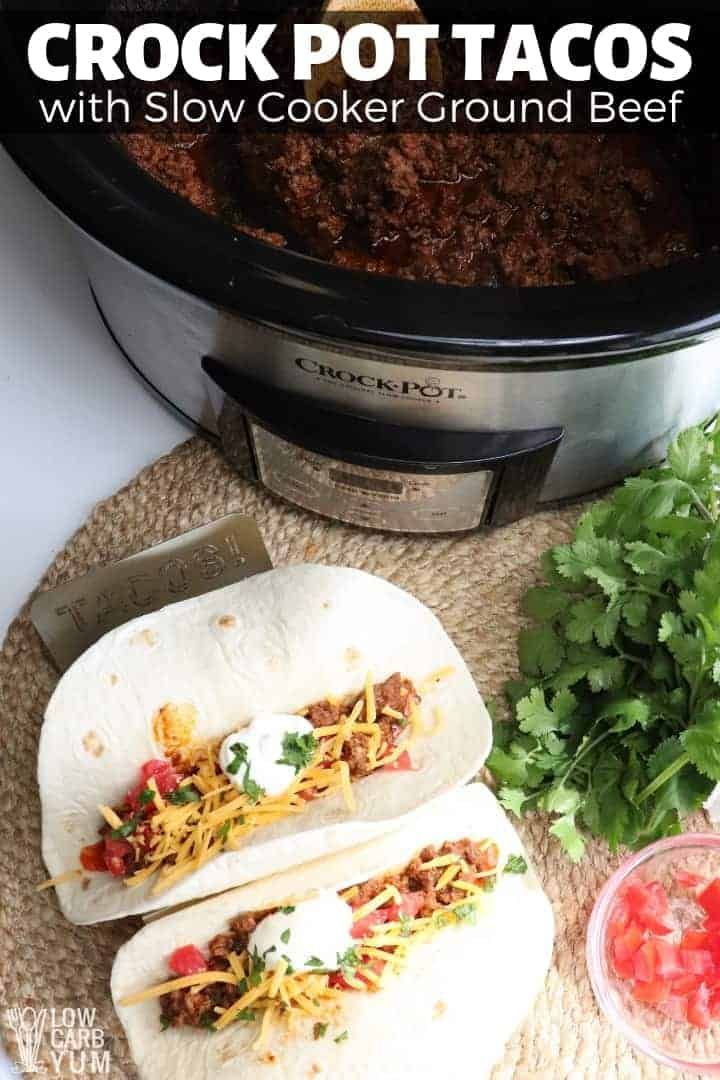 Low Carb Crock Pot Tacos With Slow Cooker Ground Beef Lowcarbrecipes Ketkorecipes Ketomea Slow Cooker Ground Beef Crock Pot Tacos Ground Beef Paleo Recipes