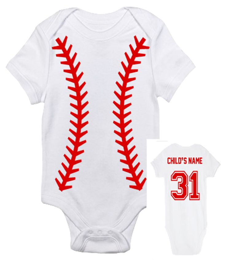 Turn up the fun by customizing the back of this adorable baby bodysuit with your child's name and number of your choice! You don't have to be a baseball nut to think that this one-piece bodysuit is a
