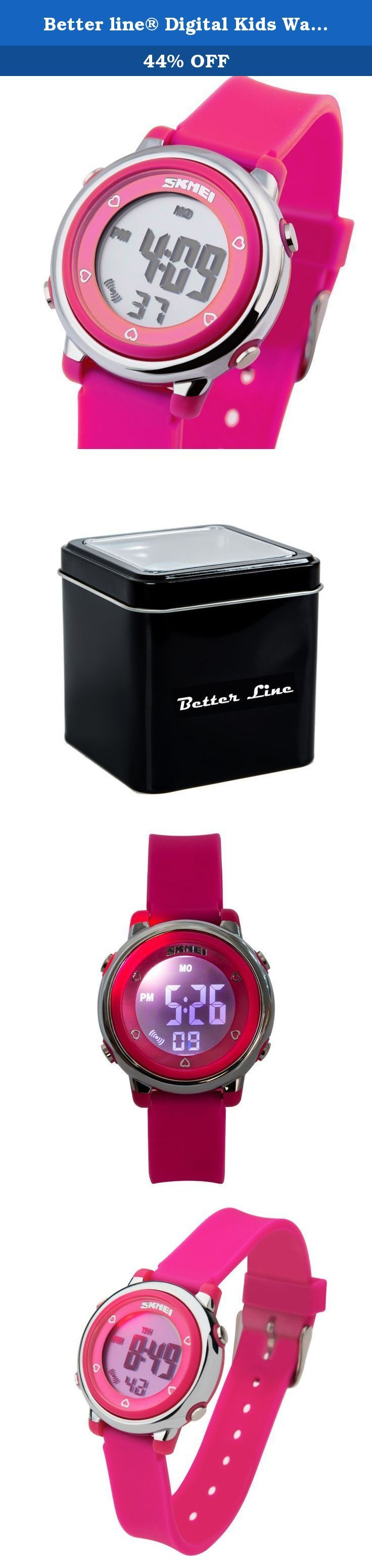 Better line® Digital Kids Watch Band with Hourly Chime, Stopwatch, Daily Alarm & Calendar (Rose Red). Rose Red LCD Digital Kids Watch Band with Hourly Chime, Daily Alarm & Calendar Functoins The BETTER LINE Children's Watch is the perfect first watch for any child. Made to perfectly fit a kid's wrist, this watch is built tough to stand up to frequent wear, and it's comfortable for children to wear all day long. Easy to read and simple to use, it's a watch your child can enjoy as he or she...