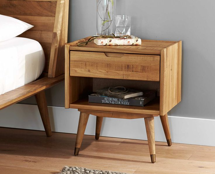 Scandinavian Designs - Crafted from solid poplar with a natural stain, the Bolig nightstand features a single drawer above an open niche for easy bedside organization. This Nordic look offers clean lines with a low profile and mid-century style tapered legs.
