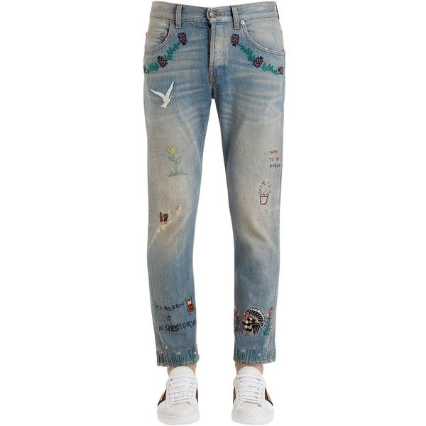 Gucci Men 18cm Embroidered Stone Washed Jeans (77,445 INR) ❤ liked on Polyvore featuring men's fashion, men's clothing, men's jeans, light blue, mens stonewash jeans, mens jeans, mens embroidered jeans, mens stone wash jeans and gucci mens jeans