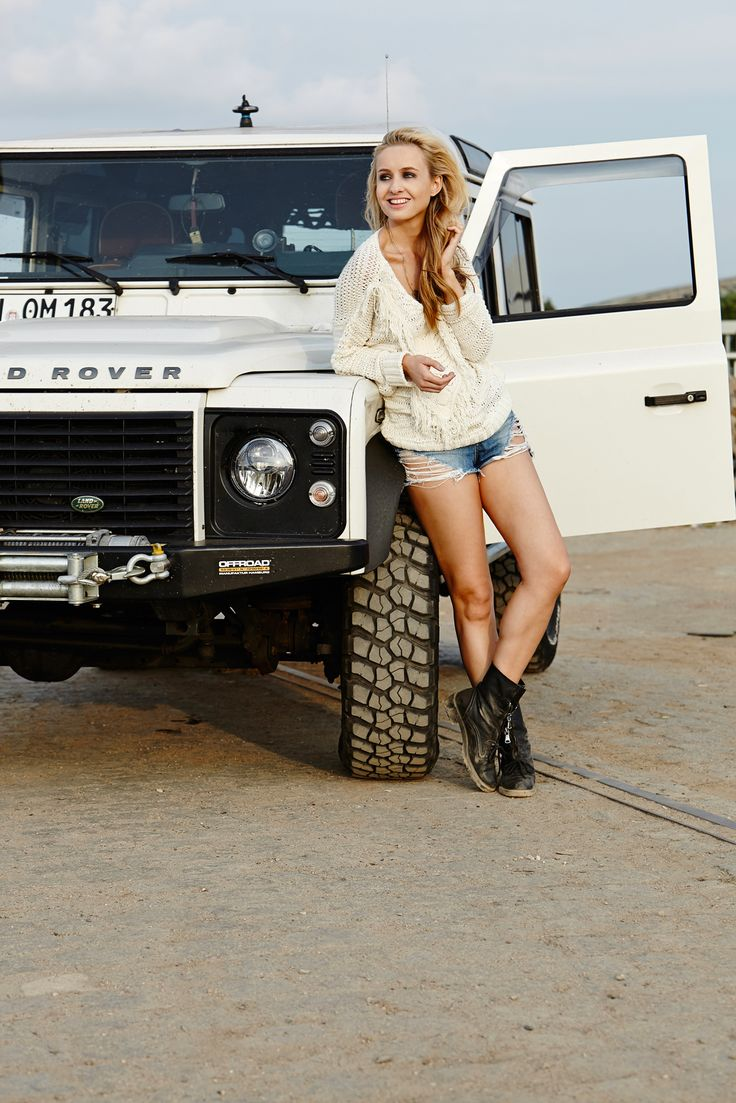 // The car - what else  White Land Rover and a girl ♥ App for Land Rovers http://Carwarninglight.com