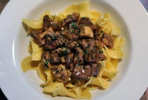 Tenderloin Tips with Mushrooms and Herbs, a cross between a traditional beef stroganoff and a quick stew, checks in at only 270 calories per serving.