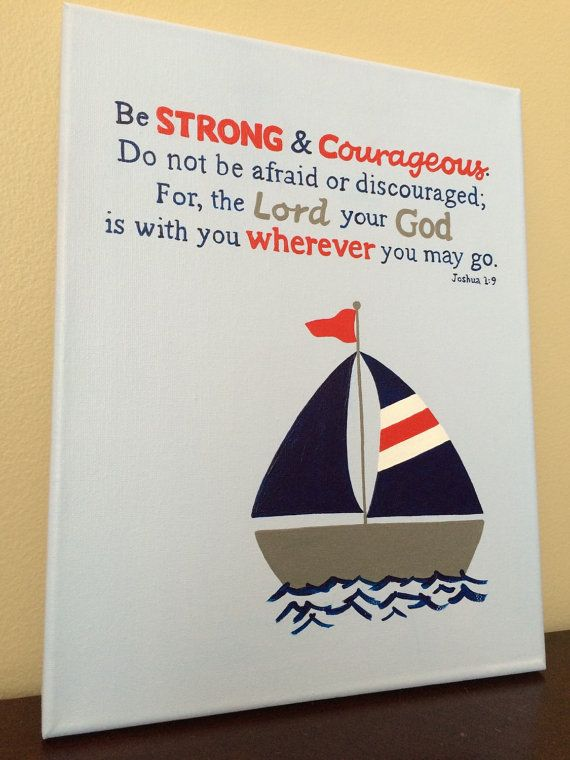 Nautical bible verse canvas art. Nautical by LittleWhispersOfHope