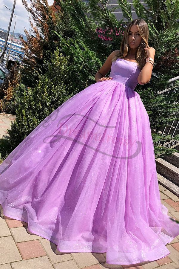 Princess Ball Gown Lilac Straps Long Prom Formal D…