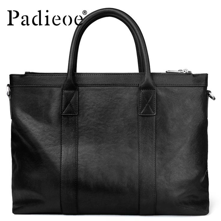 Padieoe New Arrival Luxury Portfolio Genuine Top Cowhide Leather Briefcase Large Capacity Men's Tote Bag Laptop Bag Briefcase