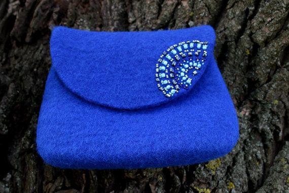 Валяная сумка и косметичка Синяя птица 100% шерсть от FeltZeppelin