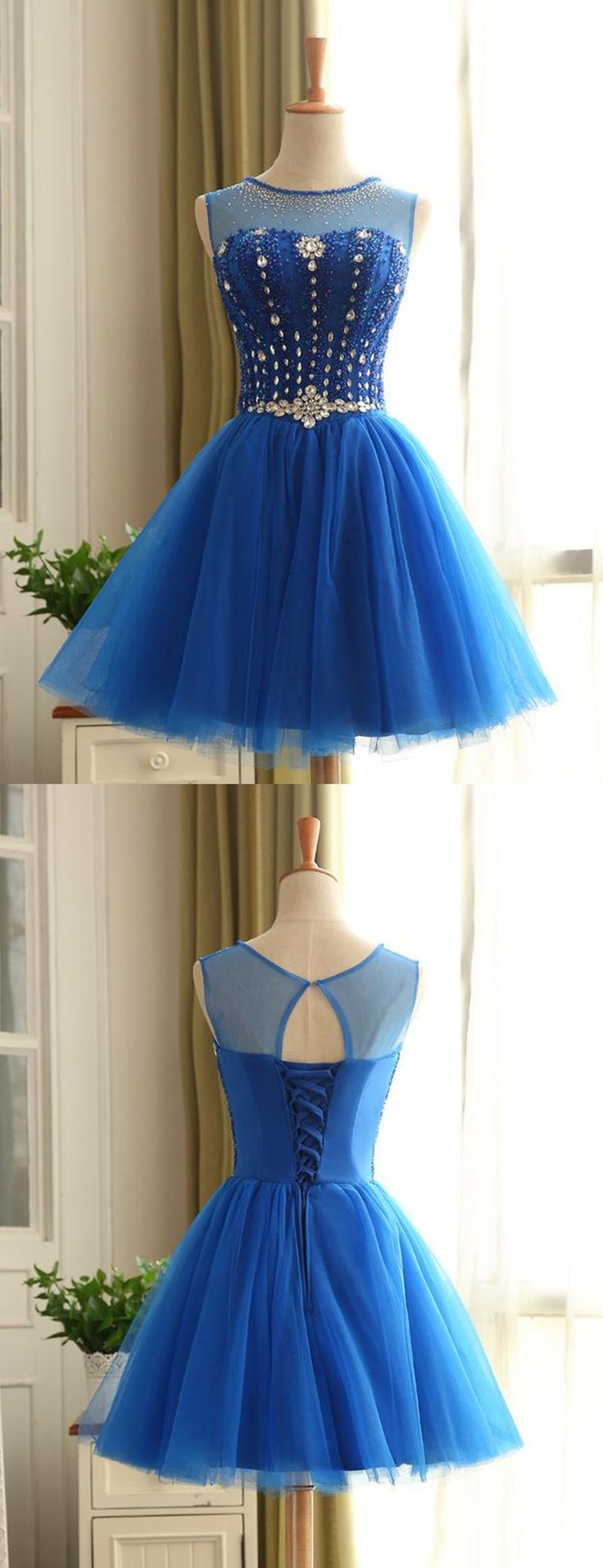 2016 homecoming dress, short homecoming dress, blue homecoming dress, dress for homecoming dress, homecoming dress with lace up
