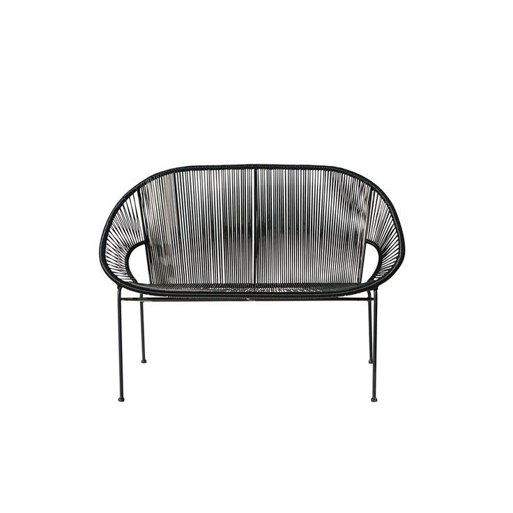 stapelbare gartenbank 2 3 sitzer aus kunstharz gewebe und schwarzem metall garten. Black Bedroom Furniture Sets. Home Design Ideas