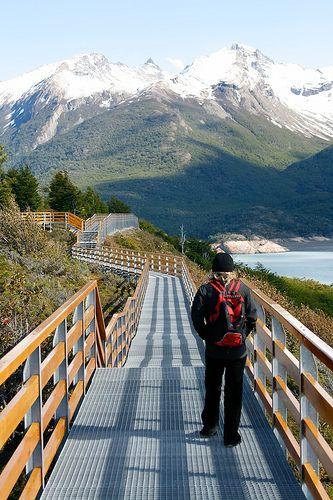 Walk along Perito Moreno Glacier, Los Glaciares National Park, Argentina.
