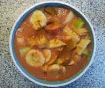 Hirse - Obst Frühstück / Hirsebrei, vegan, high carb low fat, vollwertig