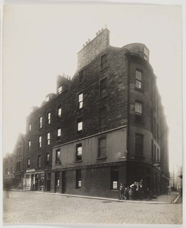 Corner of Lothian Street and Poterrow, Edinburgh. Photograph by Alfred Henry Rushbrook.  1929.