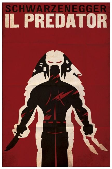 """PREDATOR (italian)"" by Travis Pitts, Winston-Salem North carolina // from the movie poster series, another retro-look foreign design, this time PREDATOR, in Italian. a bold clean take on the classic showdown // Imagekind.com -- Buy stunning, museum-quality fine art prints, framed prints, and canvas prints directly from independent working artists and photographers."