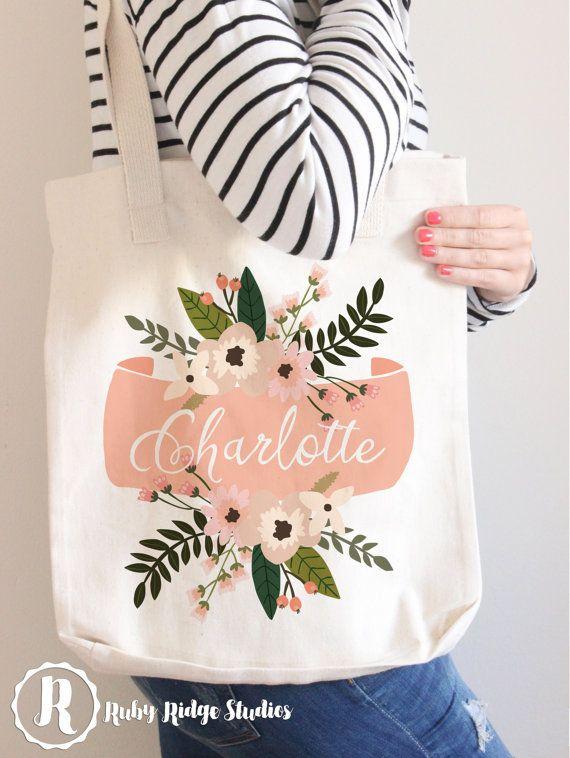 Personalized Name Blush Floral Banner Tote Bag | Bridesmaid Tote Bag…