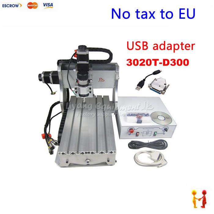 (NO TAX TO EU) Mini cnc wood lathe 3020 mach3 3axis cnc milling machine with USB adapter