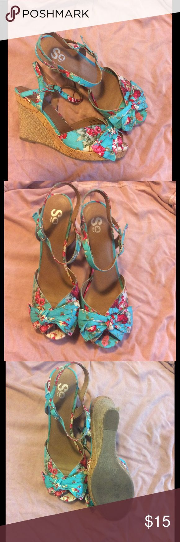 Floral wedges Super cute spring/summer shoes! Worn once. Floral design with bow detail On SALE Shoes Wedges