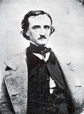 Edgar Allan Poe's art was born of tragedy.  Both his families, in youth and adulthood, died, he was an alcoholic, his work had very steep highs and lows, and his death was a mystery.
