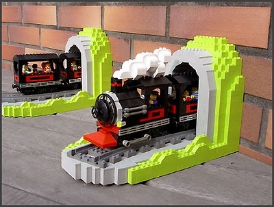 LEGO train bookends---I think these would be great for a village to give the illusion that there is a long train coming/leaving town.