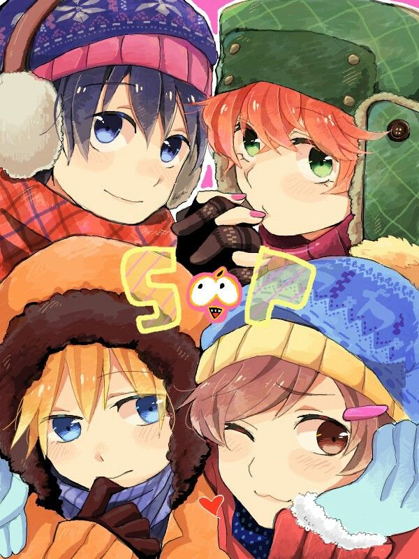 South Park... Not sure if they are suppose to be either girls or guys here because either stan or Kyle, One of them has pink nails and I can't really tell which one it is since their fingers are intertwined