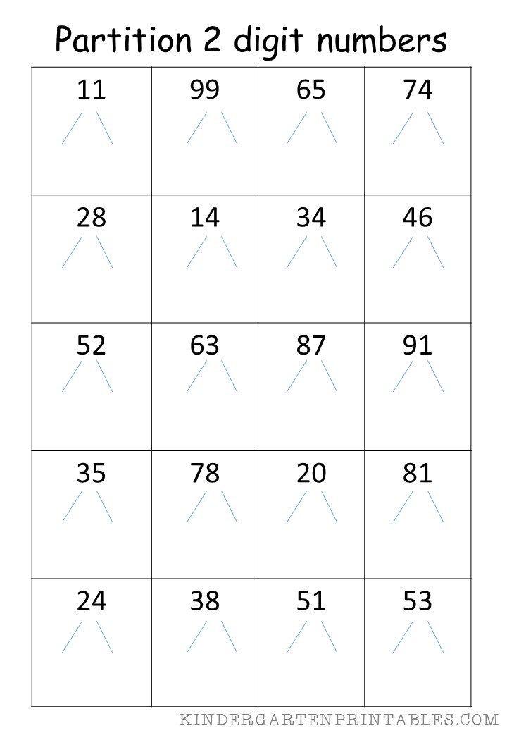 Partition 2 Digit Numbers 3 Free Printable Worksheets Ks1 Maths Worksheets First Grade Math Worksheets