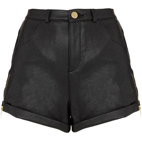 TOPSHOP Zip Side Leather Look Shorts ($39) ❤ liked on Polyvore featuring shorts, bottoms, short, pants, black, topshop, topshop shorts, vegan leather shorts, short shorts and faux leather shorts