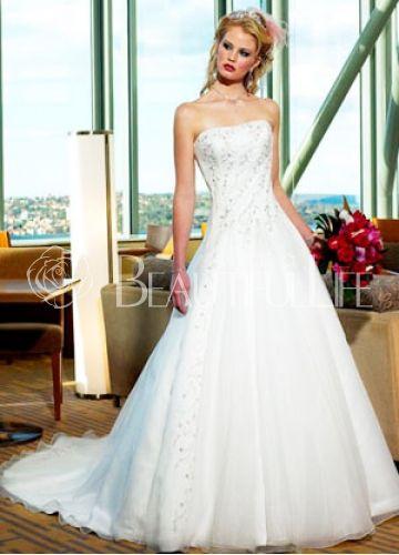 White A-line Strapless Beading Corset Closure Satin Wedding Dress