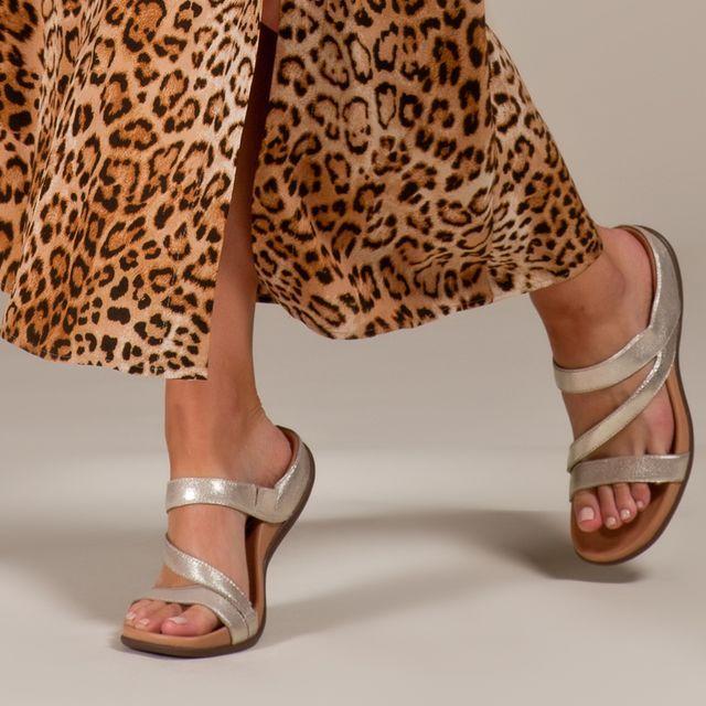 Trio Gold Metallic Easy Wear Sandals Women