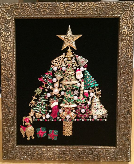 Vintage & Costume Jewelry Framed Art Christmas Tree