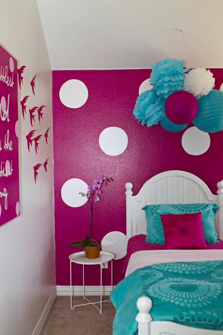 polka dot walls. For the girls.