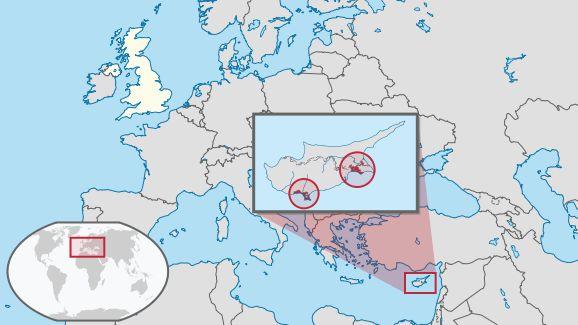 Akrotíri és Dekélia fekvése Európán belül