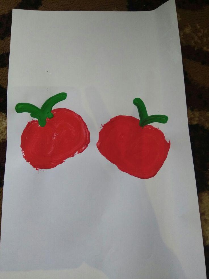 Membuat bentuk 🍎 apel, dengan menggunakan sisa Rol yang tisu.  Alat dan bahan : 1. Rol tisu bekas 2. Cat.  3. Kuas