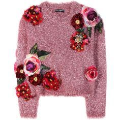 Dolce & Gabbana Metallic Sweater With Appliqué found on Polyvore featuring tops, sweaters, jumper, pink, metallic tops, pink top, purple sweater, pink sweater and purple top
