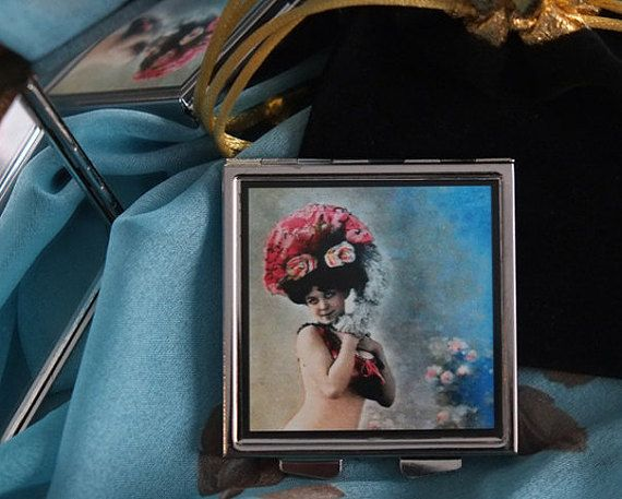 Be My Valentine Roses on Bonnet Mirrored Compact with by karenarts