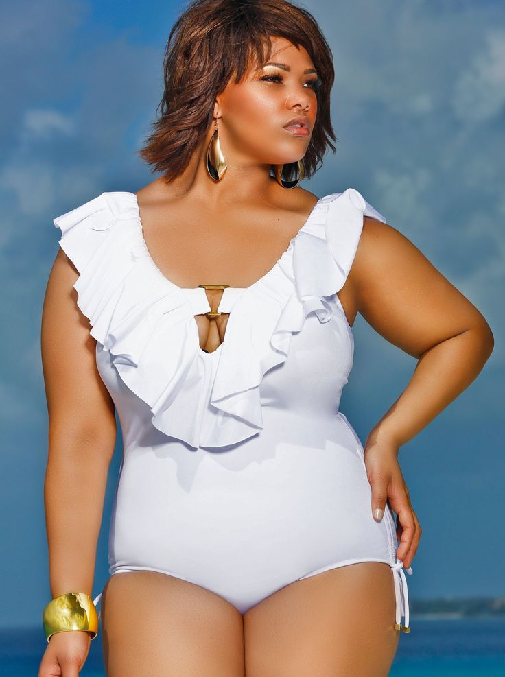 "Monif C : ""Trinidad"" Ruflfle Plus Size Swimsuit"